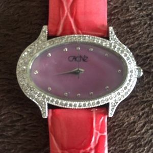 Cache Gator Leather Band Diamond Bezel Watch $98
